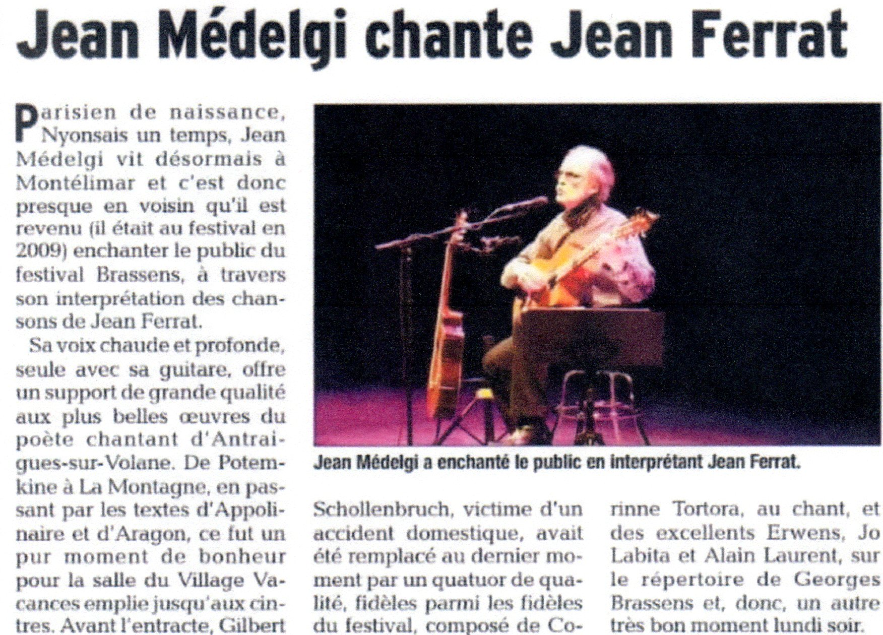 Concert Jean Medelgi chante Jean Ferrat Vaison-la-Romaine au Festival Georges Brassens 2018